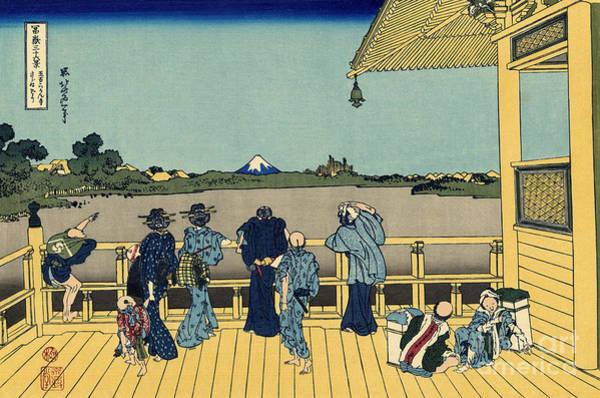 Platform Painting - Sazai Hall by Hokusai