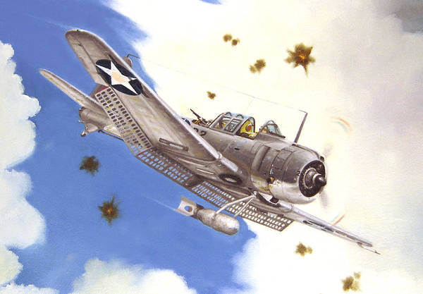 Sbd Wall Art - Painting - Sbd-3 Dauntless by Marc Stewart