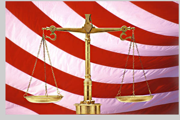 Fairness Wall Art - Photograph - Scales Of Justice American Flag by Panoramic Images