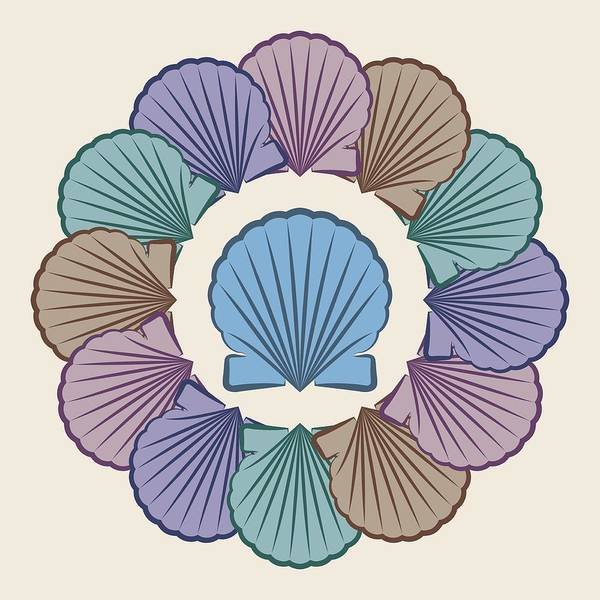 Digital Art - Scallop Shells Circle Multi Color by MM Anderson