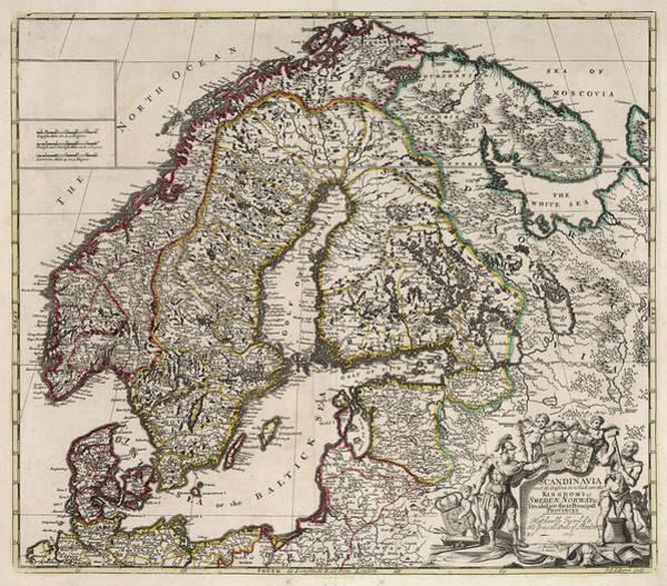 Wall Art - Painting - Scandinavia ... Kingdom's Of Sweden, Norway by John Senex
