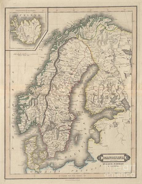 Painting - Scandinavia Including Sweden Norway Denmark  Iceland by Celestial Images