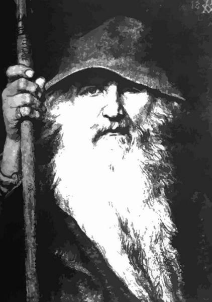 Valkyrie Digital Art - Scandinavian Mythology The Ancient God Odin by Taiche Acrylic Art