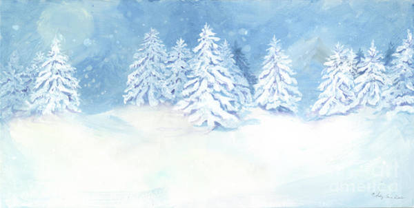 Nordic Painting - Scandinavian Winter Snowy Trees Hygge by Audrey Jeanne Roberts