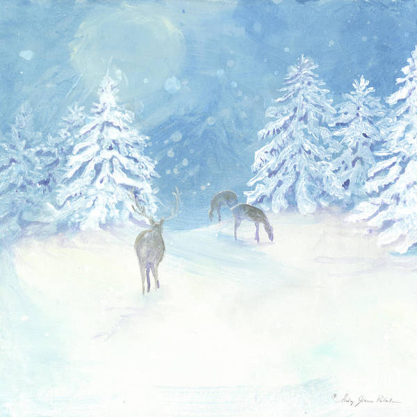 Nordic Painting - Scandinavian Winter Snowy Trees With Deer Hygge 2 by Audrey Jeanne Roberts