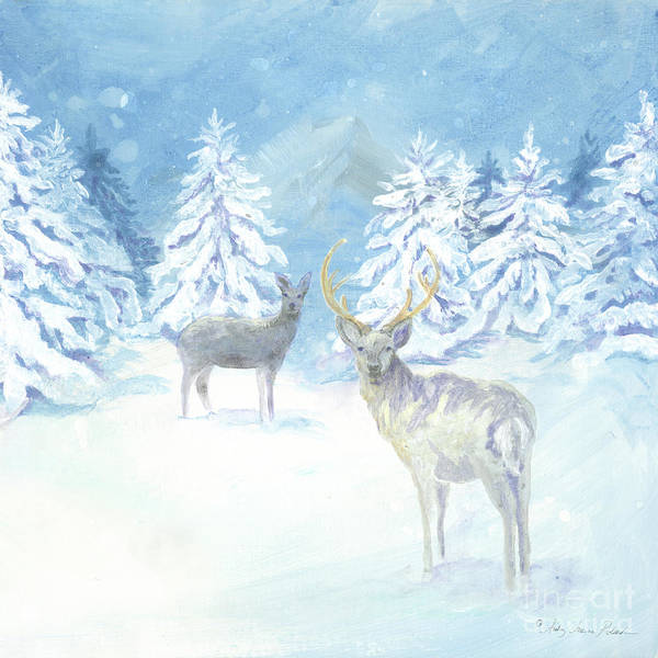 Nordic Painting - Scandinavian Winter Snowy Trees With Deer Hygge 3 by Audrey Jeanne Roberts