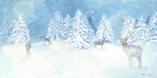 Nordic Painting - Scandinavian Winter Snowy Trees With Deer Hygge by Audrey Jeanne Roberts