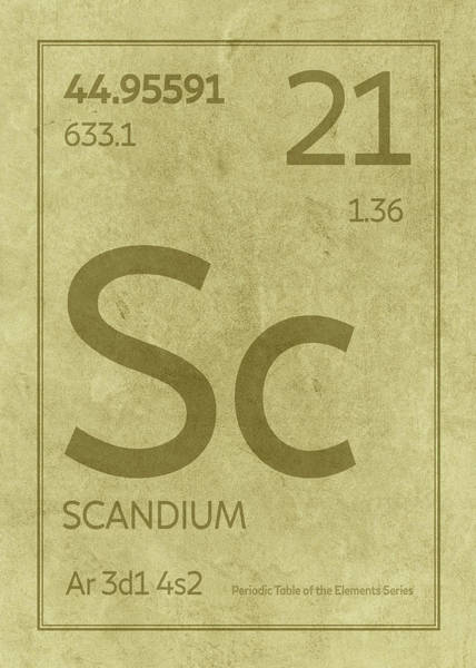 Elements Mixed Media - Scandium Element Symbol Periodic Table Series 021 by Design Turnpike