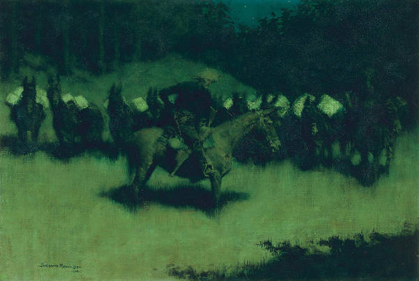 Long Shadow Painting - Scare In A Pack Train by Frederic Remington
