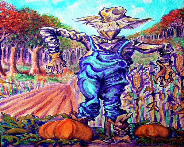 Digital Art - Scarecrow In Harvest Field by Kevin Middleton