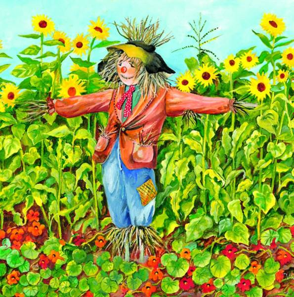 Painting - Scarecrow by Val Stokes