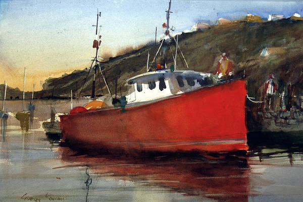 Painting - Scarlet Fisherman by Charles Rowland