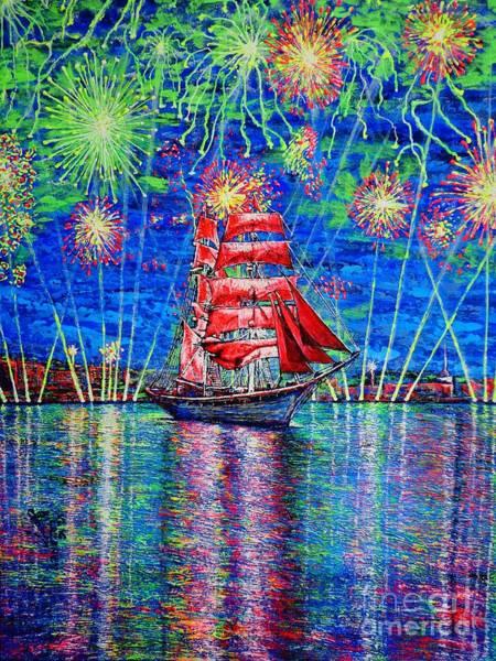 Acrilic Painting - Scarlet Sail by Viktor Lazarev