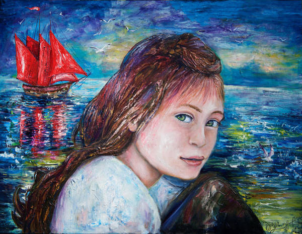 Painting - Scarlet Sails by OLena Art - Lena Owens