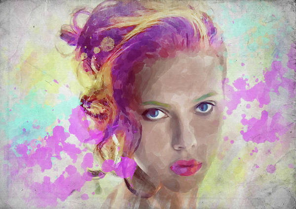 Wall Art - Photograph - Scarlett Johansson Watercolor by Ricky Barnard