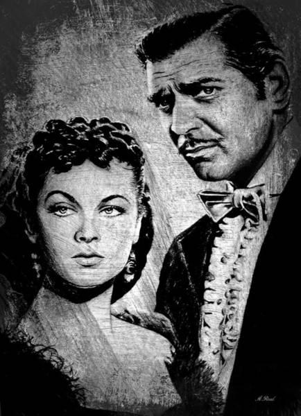 Nostalgia Drawing - Scarlett O Hara And Rhett Butler by Andrew Read
