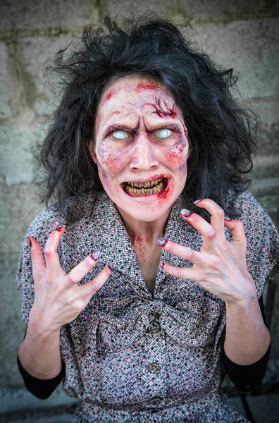 Brain Freeze Photograph - Scary Angry Zombie Woman by Matthias Hauser