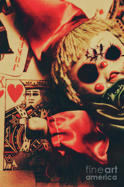 Horrible Photograph - Scary Doll Dressed As Joker On Playing Card by Jorgo Photography - Wall Art Gallery