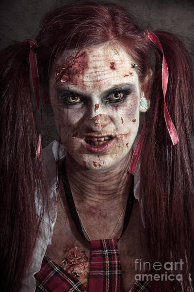 Horrible Photograph - Scary Id Photo Of Female Zombie School Student by Jorgo Photography - Wall Art Gallery