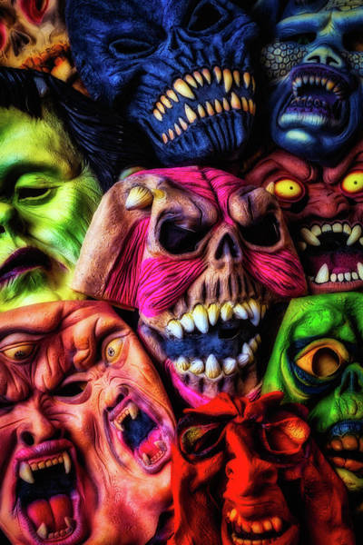 Wall Art - Photograph - Scary Old Rubber Masks by Garry Gay