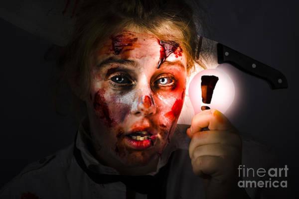 Wall Art - Photograph - Scary Zombie With Halloween Idea Light Bulb by Jorgo Photography - Wall Art Gallery