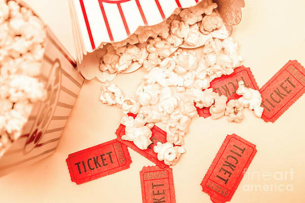 Ticket Photograph - Scattered Box Of Popcorn Over Tickets by Jorgo Photography - Wall Art Gallery