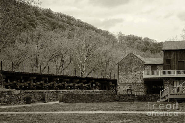 Photograph - Scene At Harpers Ferry In Sepia by Karen Adams
