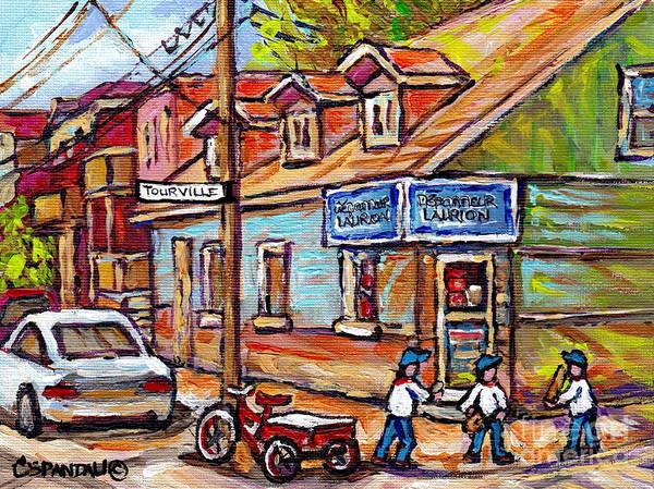 Painting - Scene De Rue D'ete De Montreal Avec Joueurs De Baseball Depanneur Du Coin  by Carole Spandau