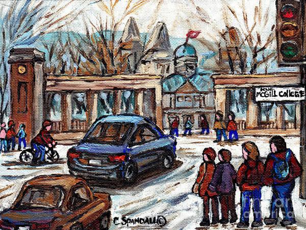 Painting - Scene De Ville De Montreal Universite Mcgill Avec Etudiants Carole Spandau Artiste Peintre Quebecois by Carole Spandau