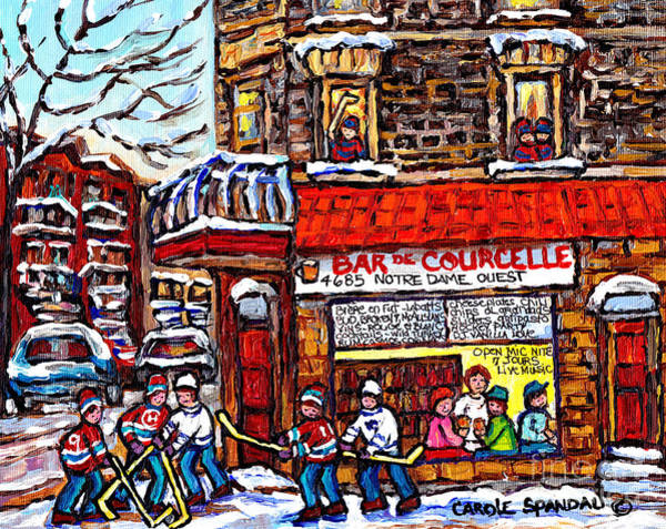 Painting - Scene Of Pointe St Charles Bar De Courcelle Montreal Winter Hockey Scene Canadian Art Carole Spandau by Carole Spandau