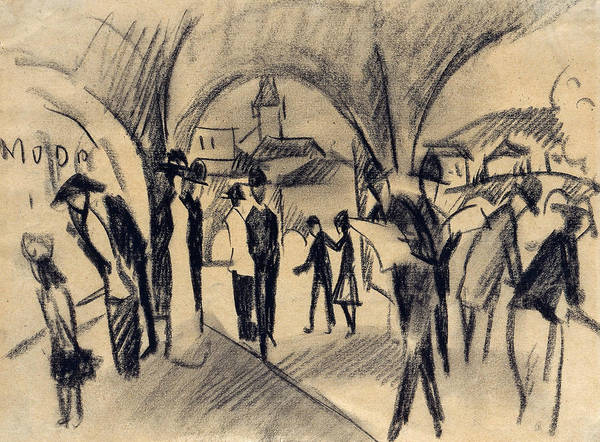 Drawing - Scene Under The Arcades In Thun by August Macke