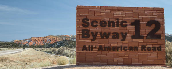 Scenic Highway Wall Art - Photograph - Scenic Byway 12 Sign Utah by Steve Gadomski