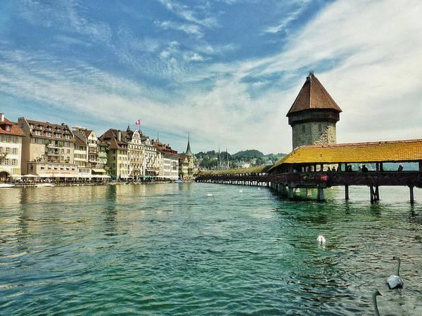 Chapel Bridge Photograph - Scenic Luzern Switzerland by Connie Handscomb