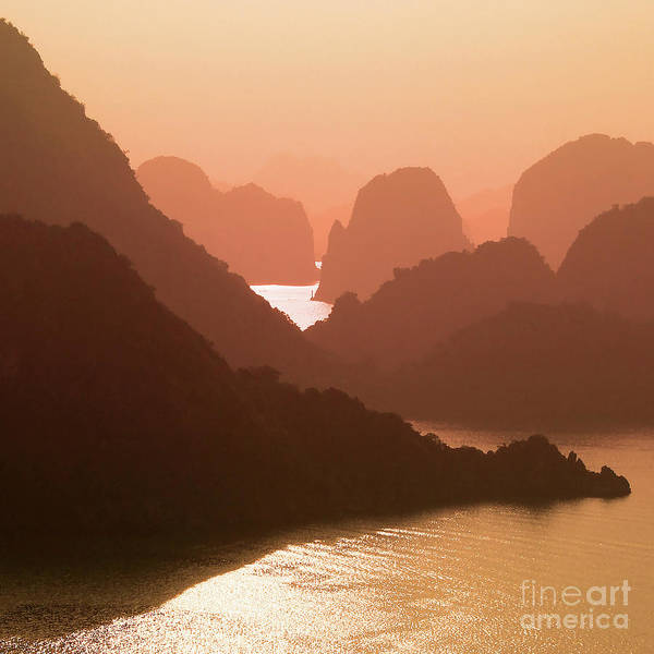 Wall Art - Photograph - Scenic Sunset In Halong Bay, Vietnam by Delphimages Photo Creations
