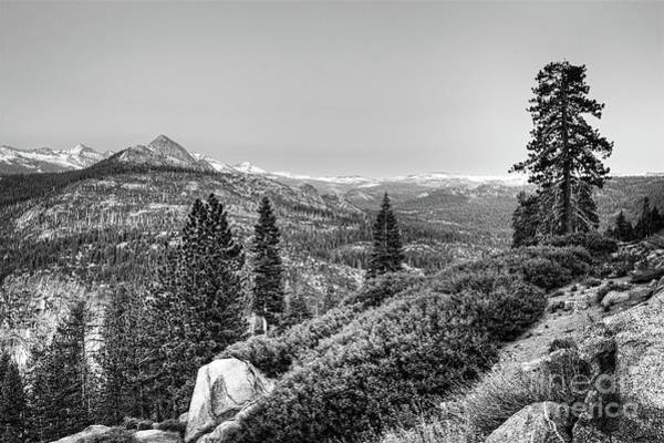 Vernal Fall Photograph - Scenic View From Yosemite Glacier Point Bw by Dan Carmichael