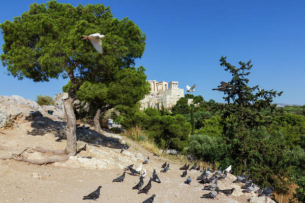 Stone Wall Art - Photograph - Scenic View Of The Rock Of The Acropolis Of Athens In Greece Wit by Iordanis Pallikaras