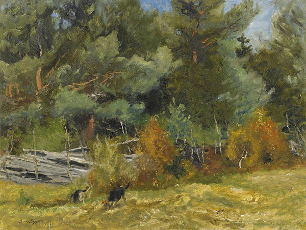 Swedish Painters Wall Art - Painting - Scent Hounds At Fence by Bruno Liljefors