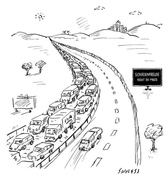 Highway Drawing - Schadenfreude Next 20 Miles by David Sipress