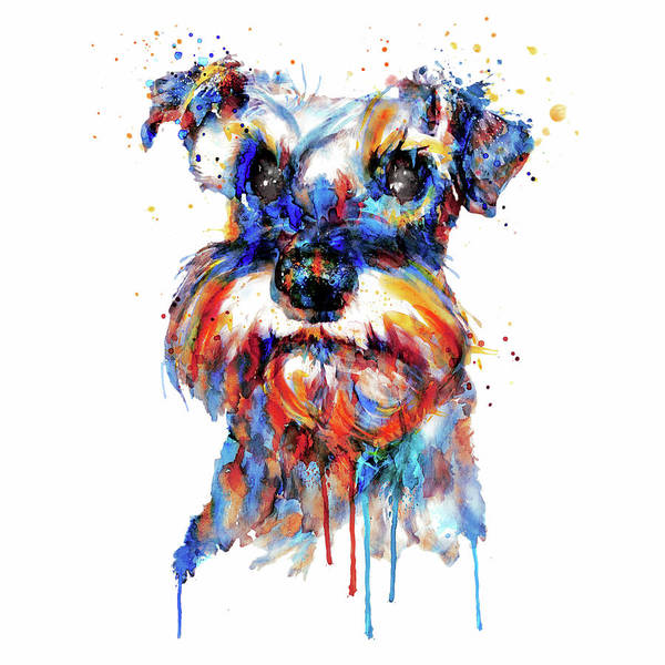 Wall Art - Painting - Schnauzer Head by Marian Voicu