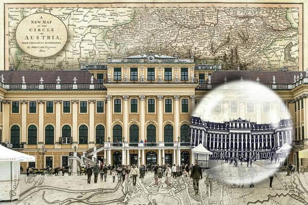 Photograph - Schonbrunn Palace Vienna Travel Map by Sharon Popek
