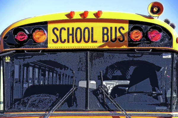 Wall Art - Photograph - School Bus  - Up Close Front View by Steve Ohlsen