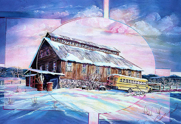 School Bus And Barn Art Print