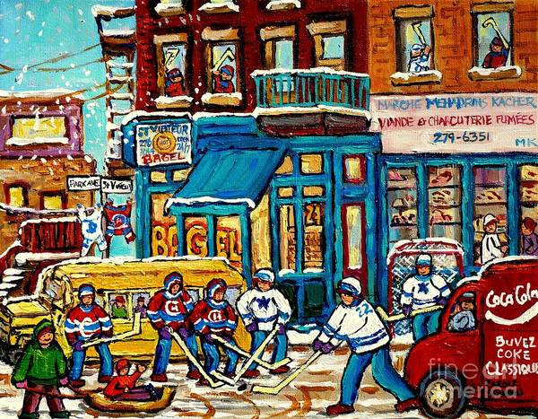 Painting - School Bus Paintings St Viateur Bagel The Jewish Street Montreal Memories Mehadrin Kosher Butcher by Carole Spandau