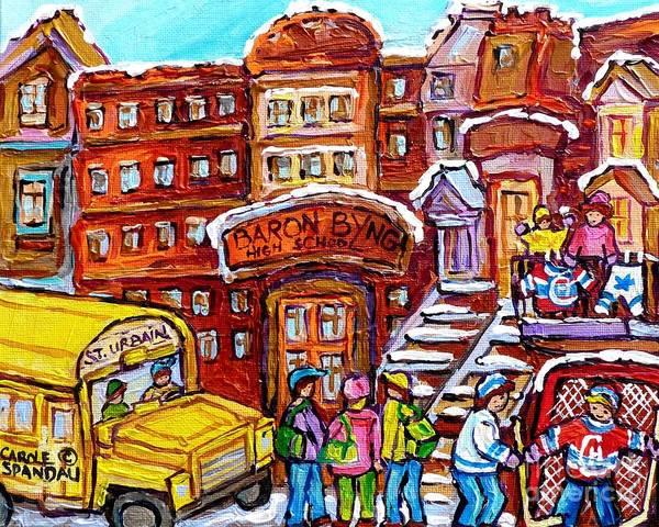 Painting - School Bus Rue St Urbain Baron Byng High Montreal 375 Hockey Art Colorful Street Scene Painting      by Carole Spandau