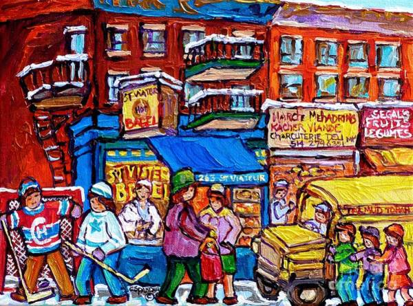 Painting - School Bus St Viateur Montreal 375 Hockey Art Colorful Streetscene Painting Beautiful Original Art  by Carole Spandau