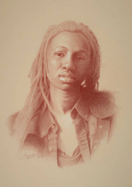 African American Drawing - School Girl by Todd Baxter