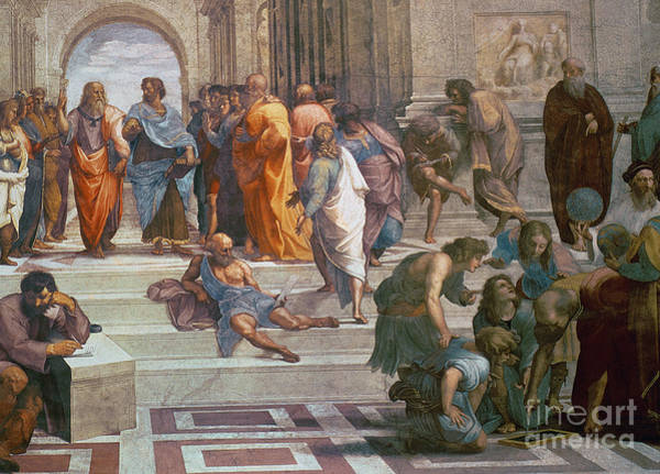 Vatican Painting - School Of Athens, Detail From Right Hand Side Showing Diogenes On The Steps And Euclid by Raphael