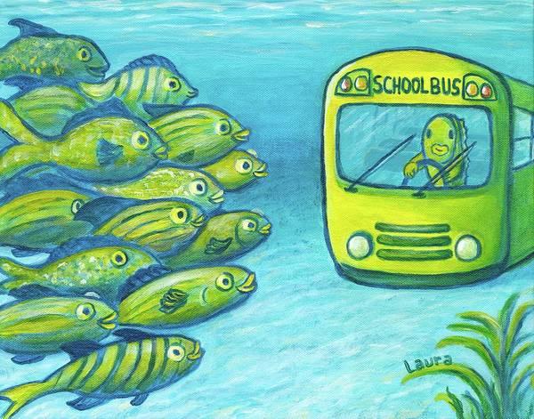 Wall Art - Painting - Schoolbus by Laura Zoellner