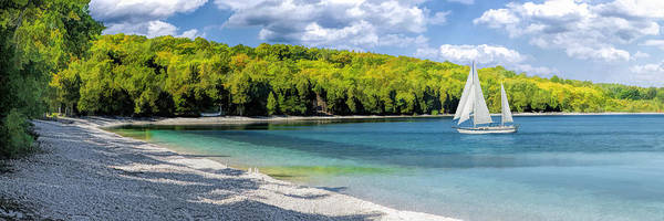Schoolhouse Beach Panorama On Washington Island Door County Art Print