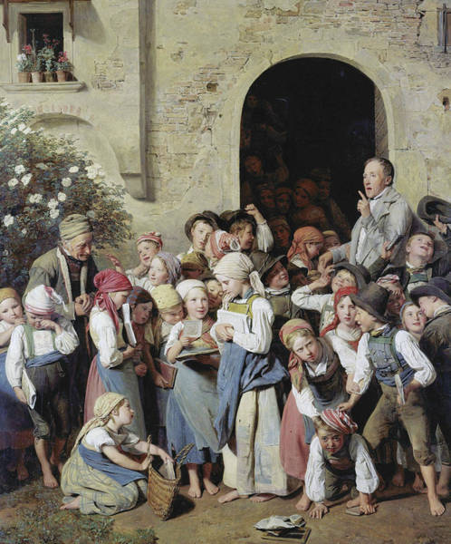Painting - School's Out by Ferdinand Georg Waldmuller